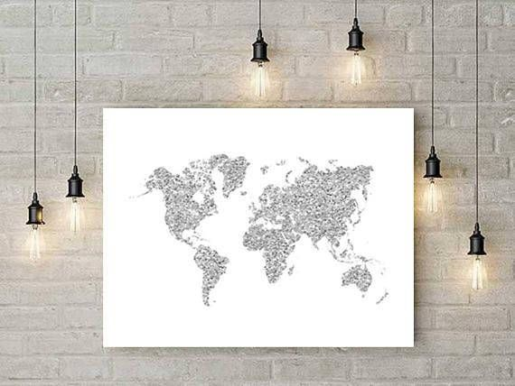 Large World Map Wall Art, Print, Silver Glitter, World Map, Map Of The  Word, World Map Poster, Travel Map, Office Decor, Home Decor #art  #TravelMap ...