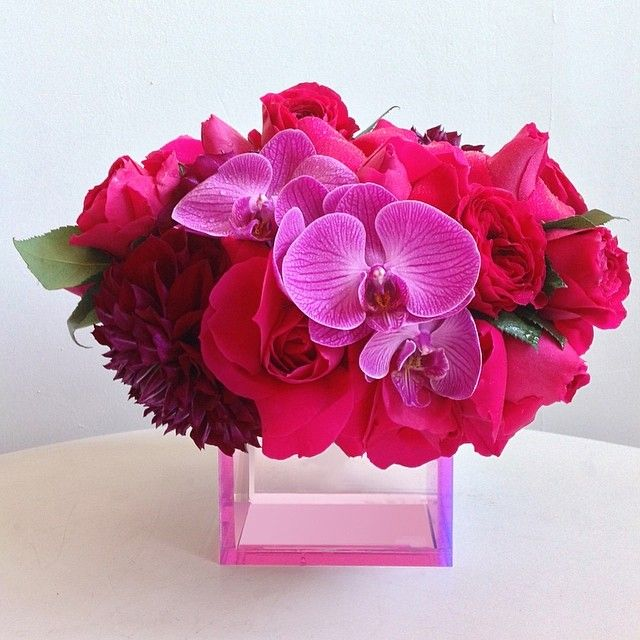Our Pink Acrylic Cube Vase With Roses Dahlias And Orchid Accents Flartla