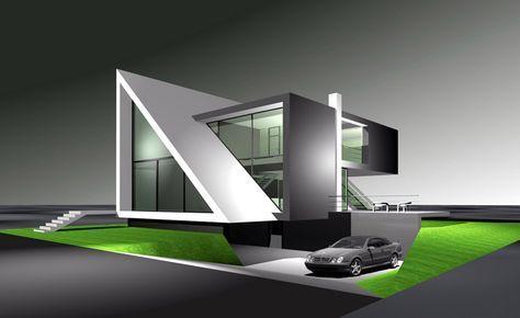 Ein modernes architekturhaus nach dem entwurf des flow for Modernes haus skizze