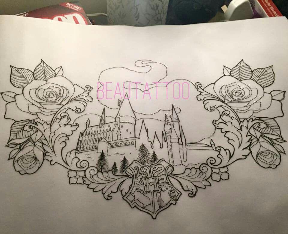 Hogwarts and roses tattoo