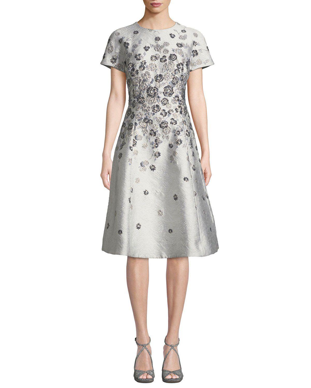 404b5a506f Rickie Freeman for Teri Jon Short-Sleeve 3D Floral-Embroidered Jacquard  A-Line Dress
