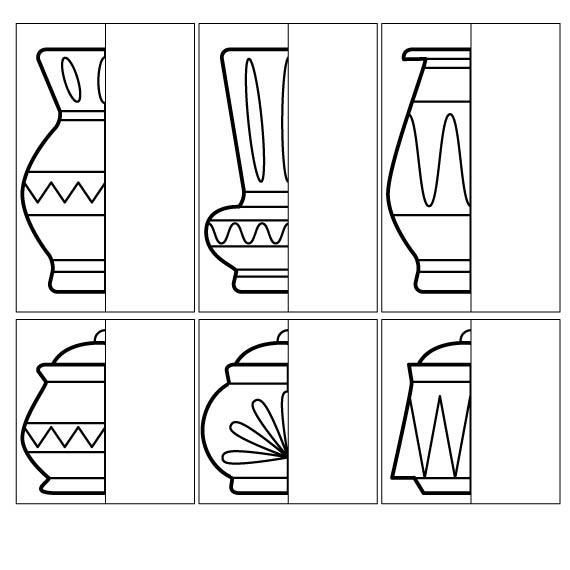 Coloring for kids Complete Drawing the vase and pot halves How