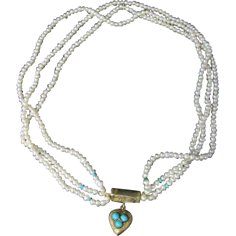 Antique Georgian Triple Pearl & Turquoise Necklace With Georgian Gold…