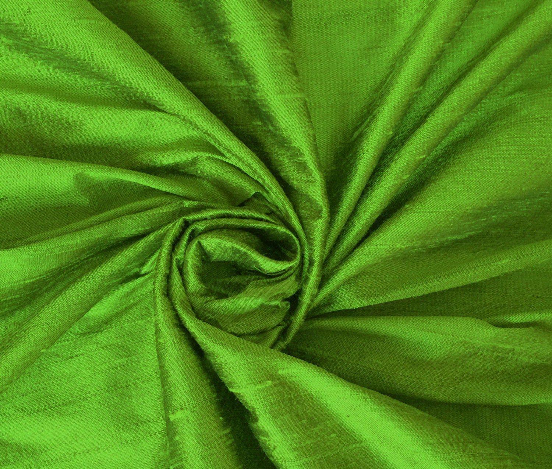 Parrot Green 100 Dupioni Silk Fabric Yardage By The Yard 45 Wide