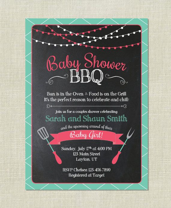BBQ Baby Shower   Barbeque Babies   Couple Cook Out Grilling - fresh invitation card for first birthday of baby girl