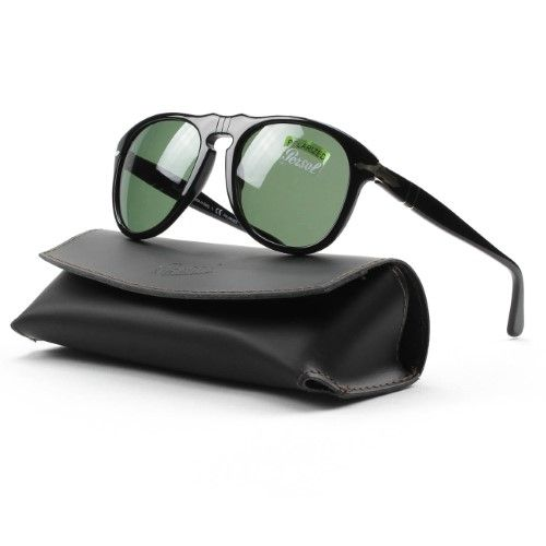 8259c7a6feed9 Persol Men s Polarized PO0649-95 58-54 Black Aviator Sunglasses ...