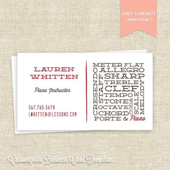 Piano Teacher Business Card Template Teacher business cards - piano teacher resume