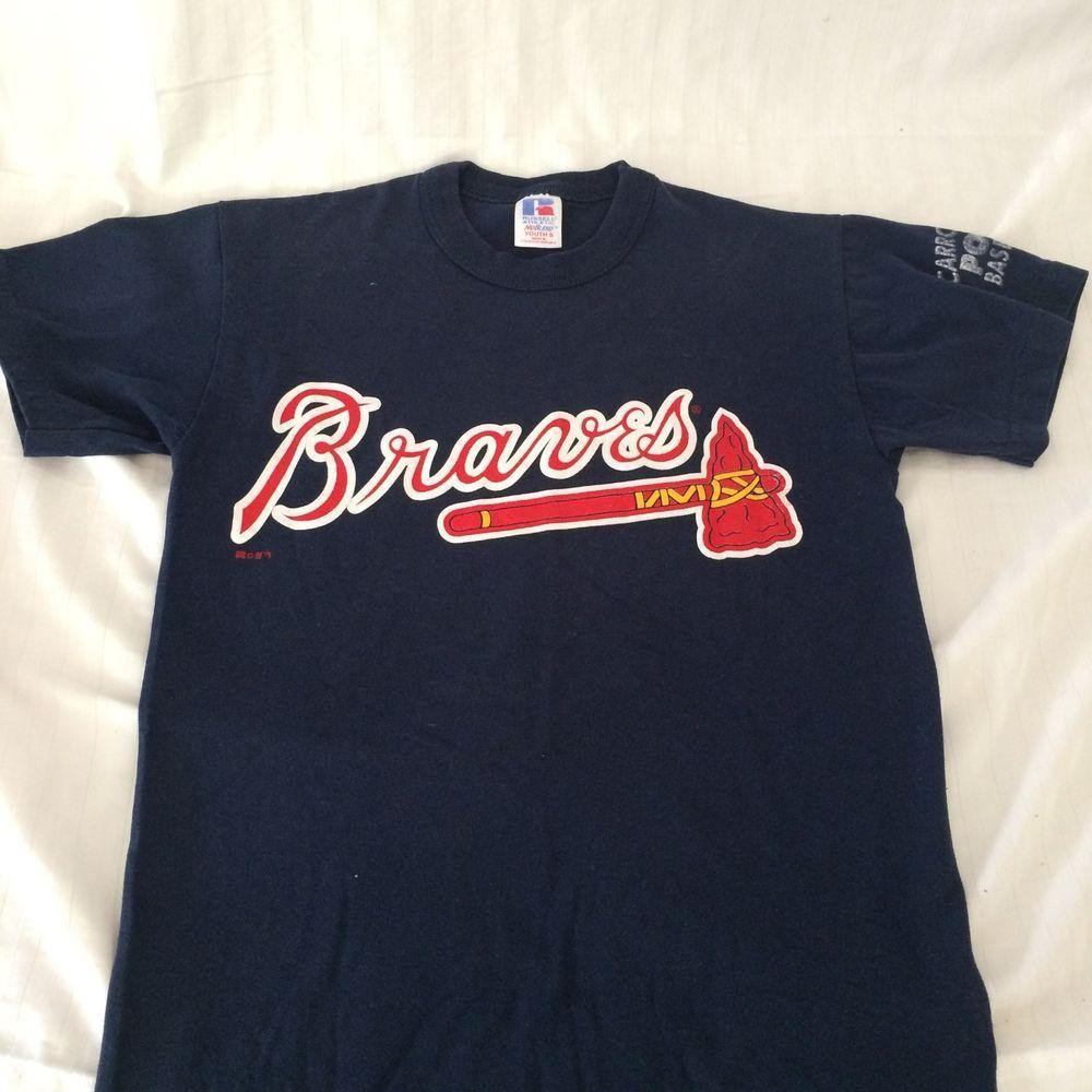 Braves Baseball T Shirt Youth Sz S Fanware No 9 Tomahawk Russellathletic Braves Baseball Tee Shirts Baseball Tshirts Braves Baseball