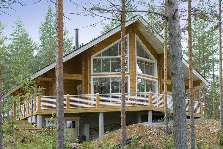 Maison finlandaise en bois maison finlandaise moderne en madriers contre coll s maisons bois for Maison moderne en bois massif