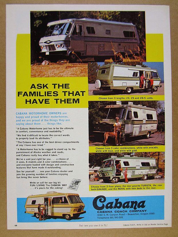 Original Dodge Cabana Motorhome Advertisement Cabana Motorhome Rv Stuff