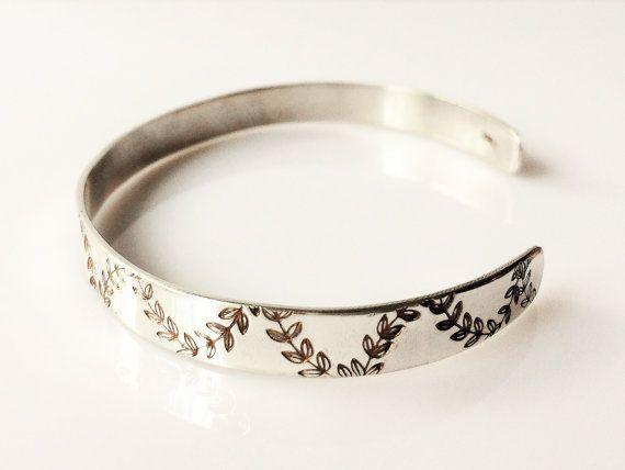 Stamped Cuff Bracelet Sterling Silver Hand Fl Chevron Pattern Slim Adjule Women