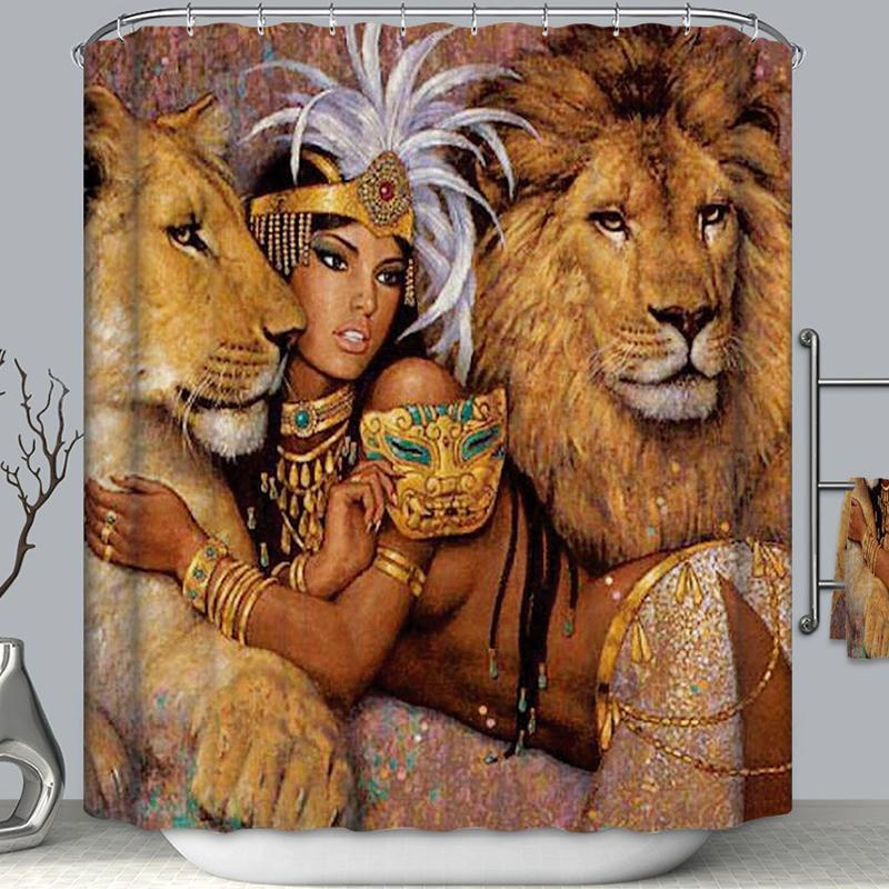 African Queen With Lions Shower Curtain Bathroom Decor Black