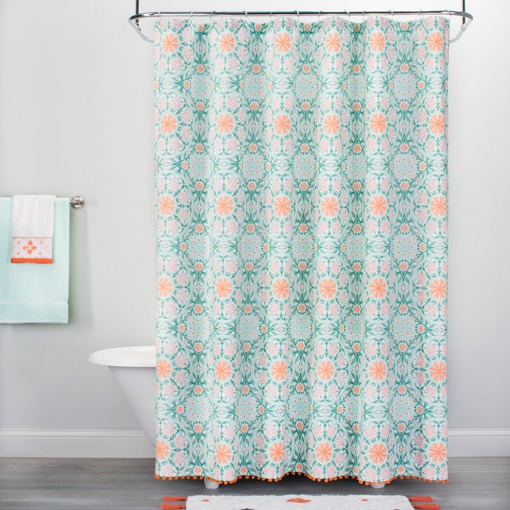 Medallion Print With Pom Fringe Shower Curtain Vapor Green Orange