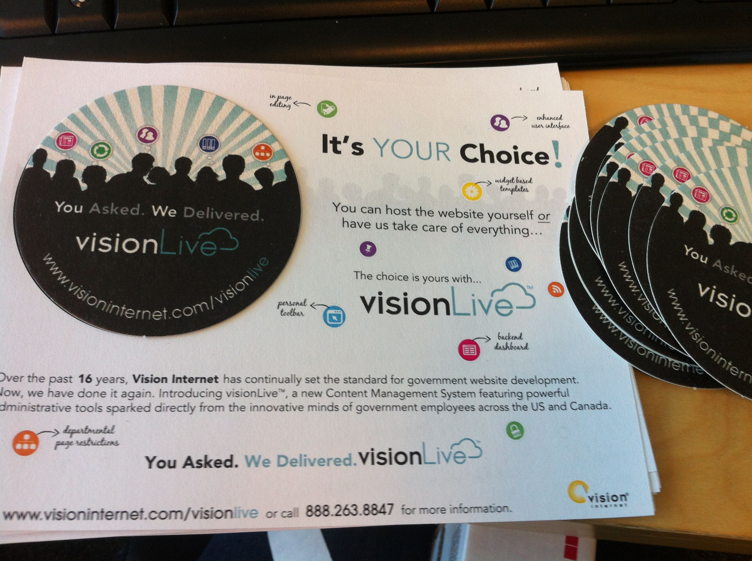 Promotional coasters for the launch for visionLive.