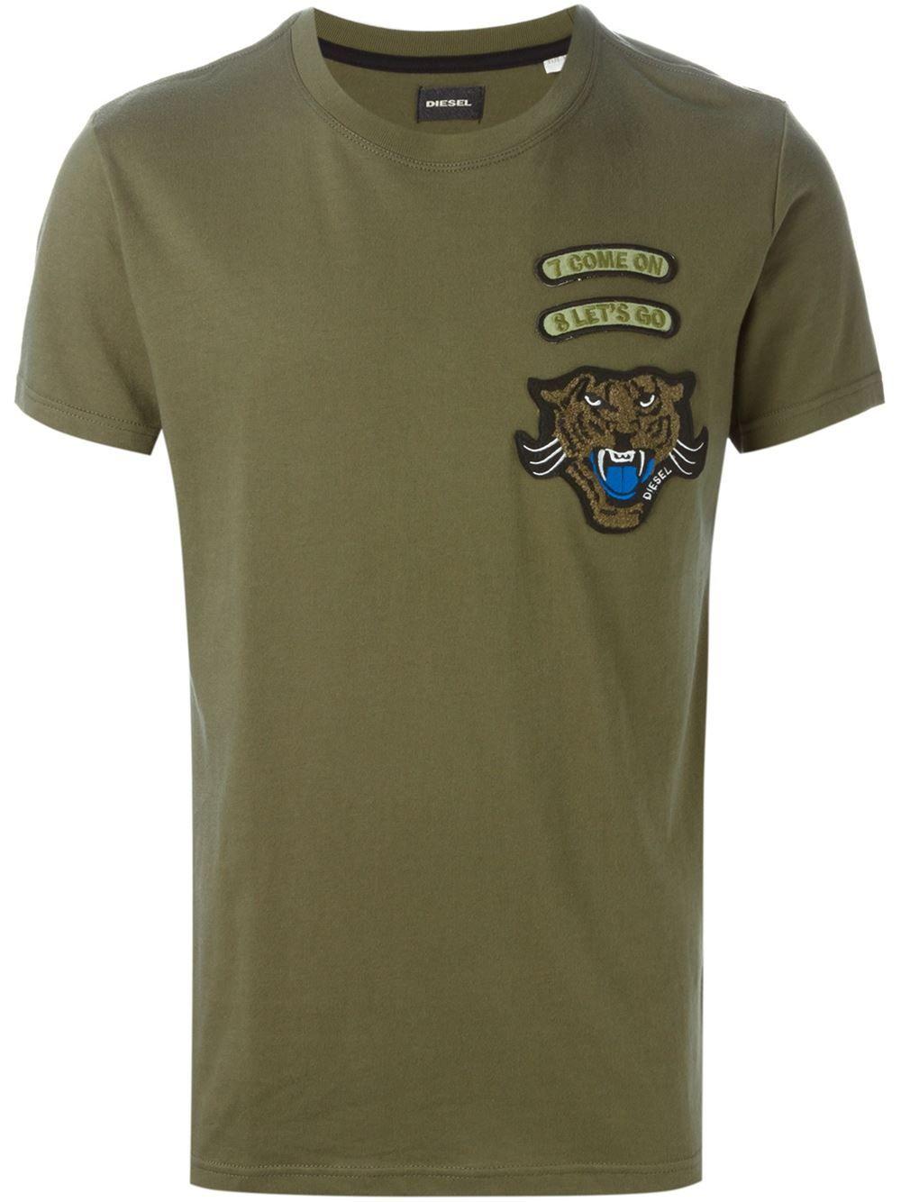 Diesel tiger patch T-shirt Tendências Da Moda 1f9c747f049
