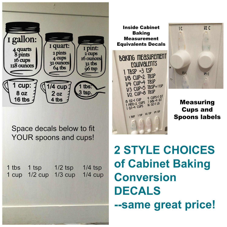 Baking Measurement Equivalents Vinyl Wall Decal Sticker Etsy Baking Measurements Baking Measuring Cups Kitchen Cabinets Measurements