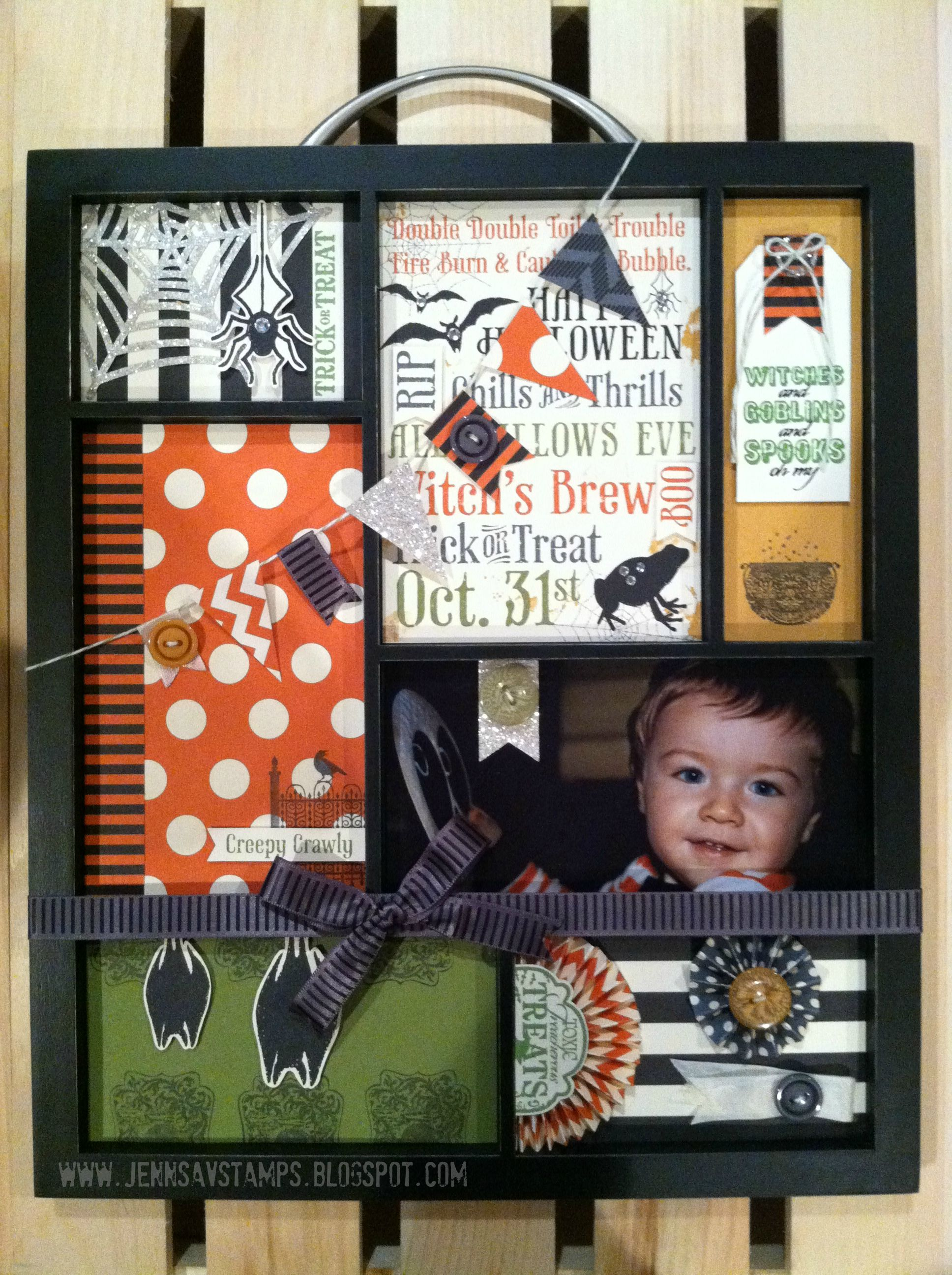 This tray was SO much fun to make! I used Stampin' Up! halloween papers and stamps to create this! Too cute!