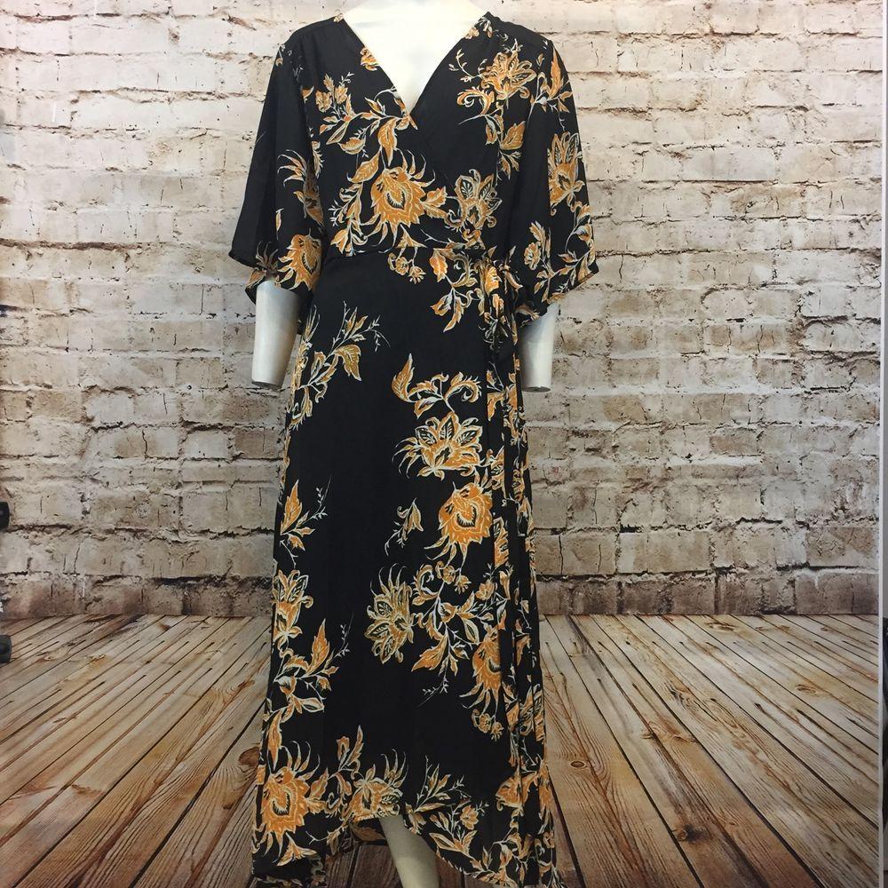 Cupshe bad moon long wrap dress black floral xl new ebay you