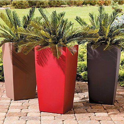 Self Watering Square Tall Tapered Planter Modern Smooth Surface 22  Contemporary Outdoor Planters   Herb Gardening Today