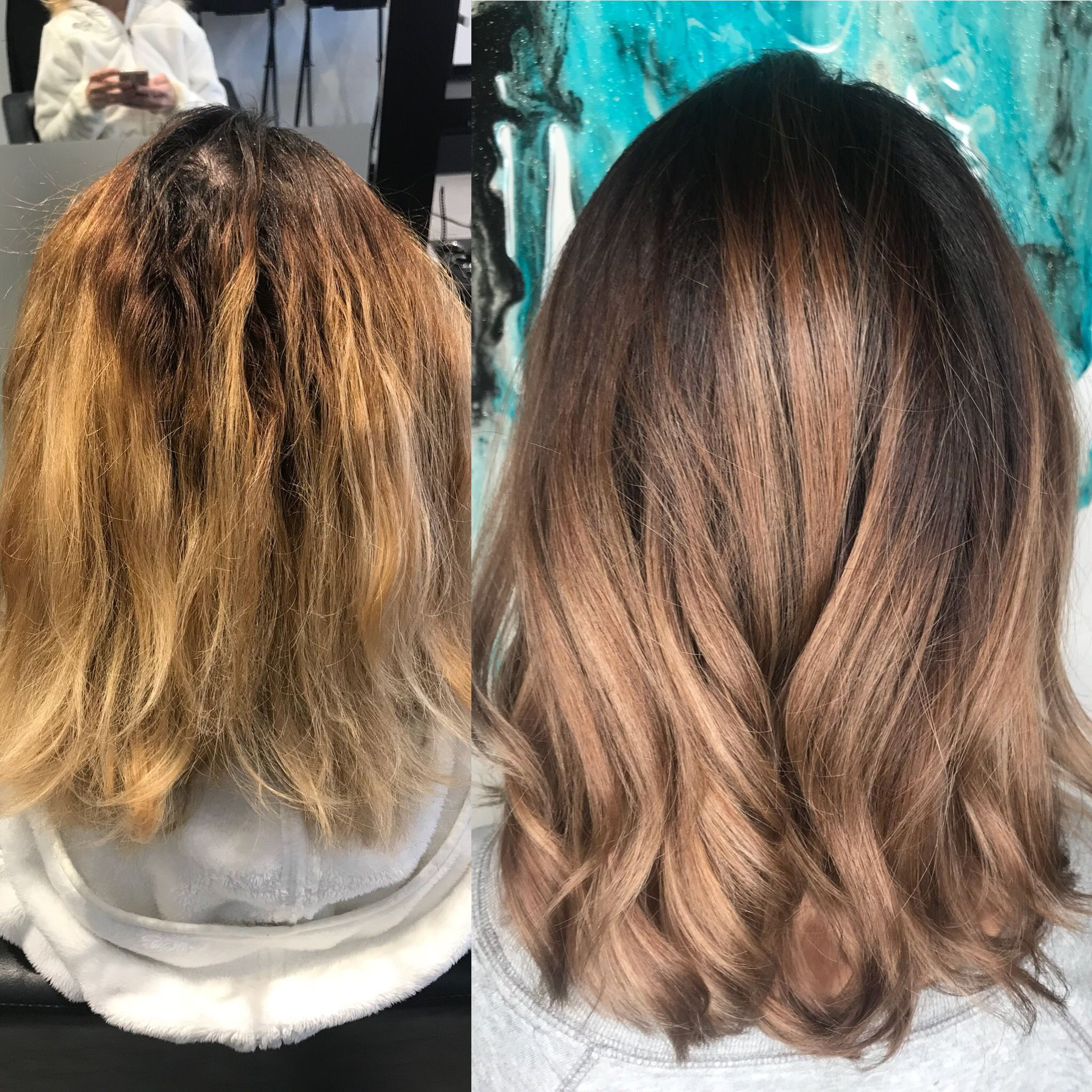 Before And After Transformation Warm Blonde Dark Blonde Ombre Cool Brunette Fall Hair Milky Chocolate Curly Hair Cur Warm Blonde Blonde Ombre Dark Blonde Ombre