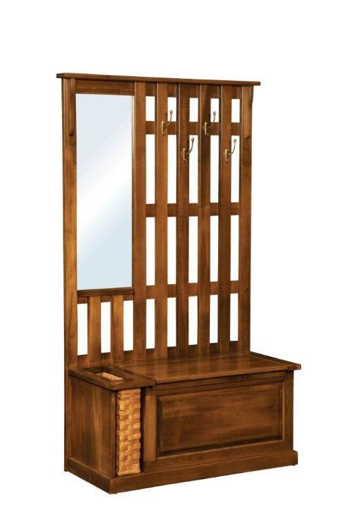 Amish Rustic Mission Hall Tree Bench With Storage Foyer Furniture Foyer Bench And Foyers