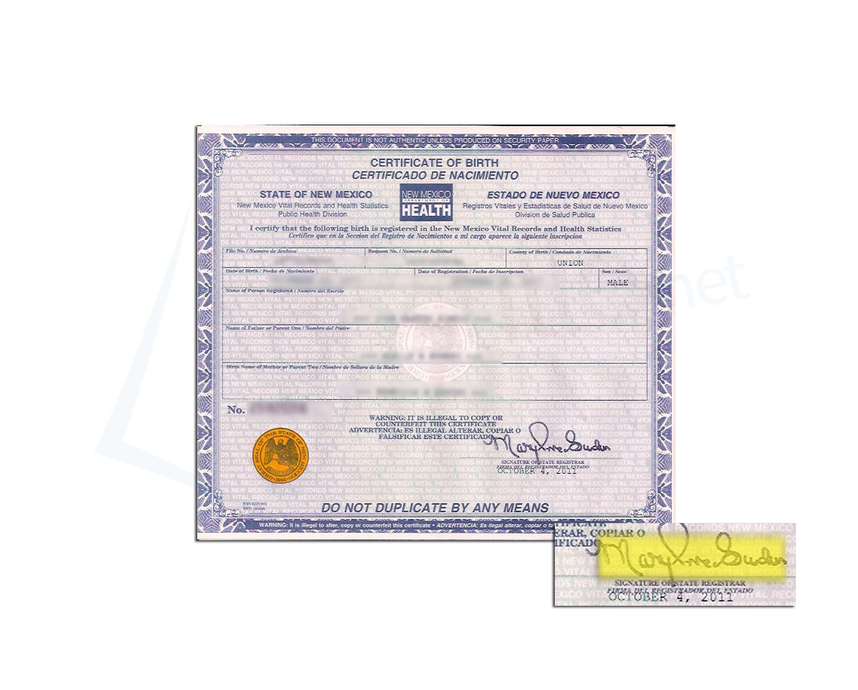 County Of Union Of New Mexico Birth Certificate Issued By The State