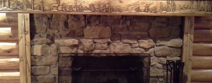 Log Cabin Fireplace Mantel Wood Carving Pinterest