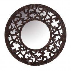 Espejo de madera redondo con marco calado decoracion for Espejo redondo madera