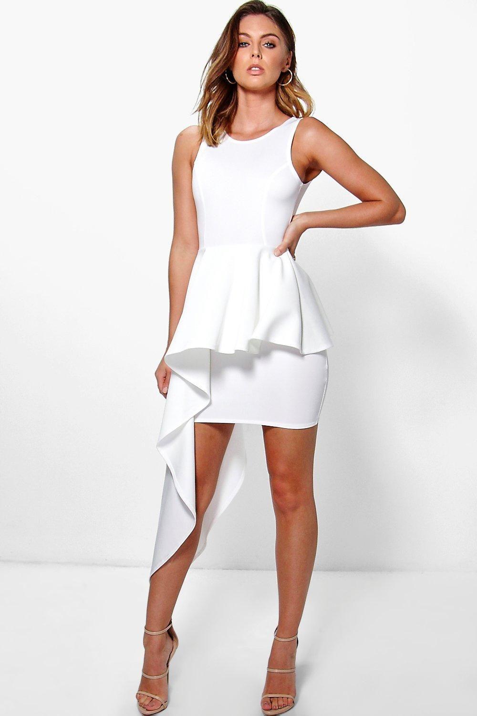 White dress cocktail party - Bonnie Asymmetric Peplum Dress