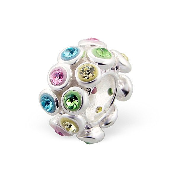 STUNNING PINK Blue Green SPACER Charm Bead 925 Sterling Silver Fits Trollbeads Chamillia Biagi & All Popular Brands of Charm Bracelets. $17.99, via Etsy.