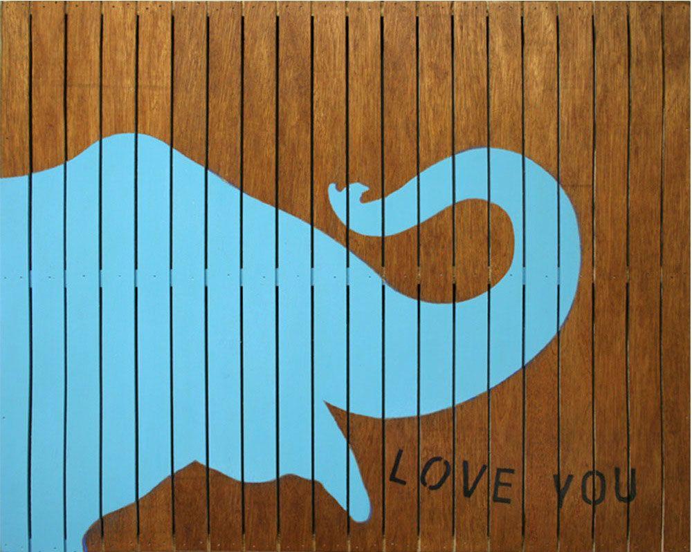 Sugarboo Designs Elephant Love You Cyan Slatted Sign Wall Art