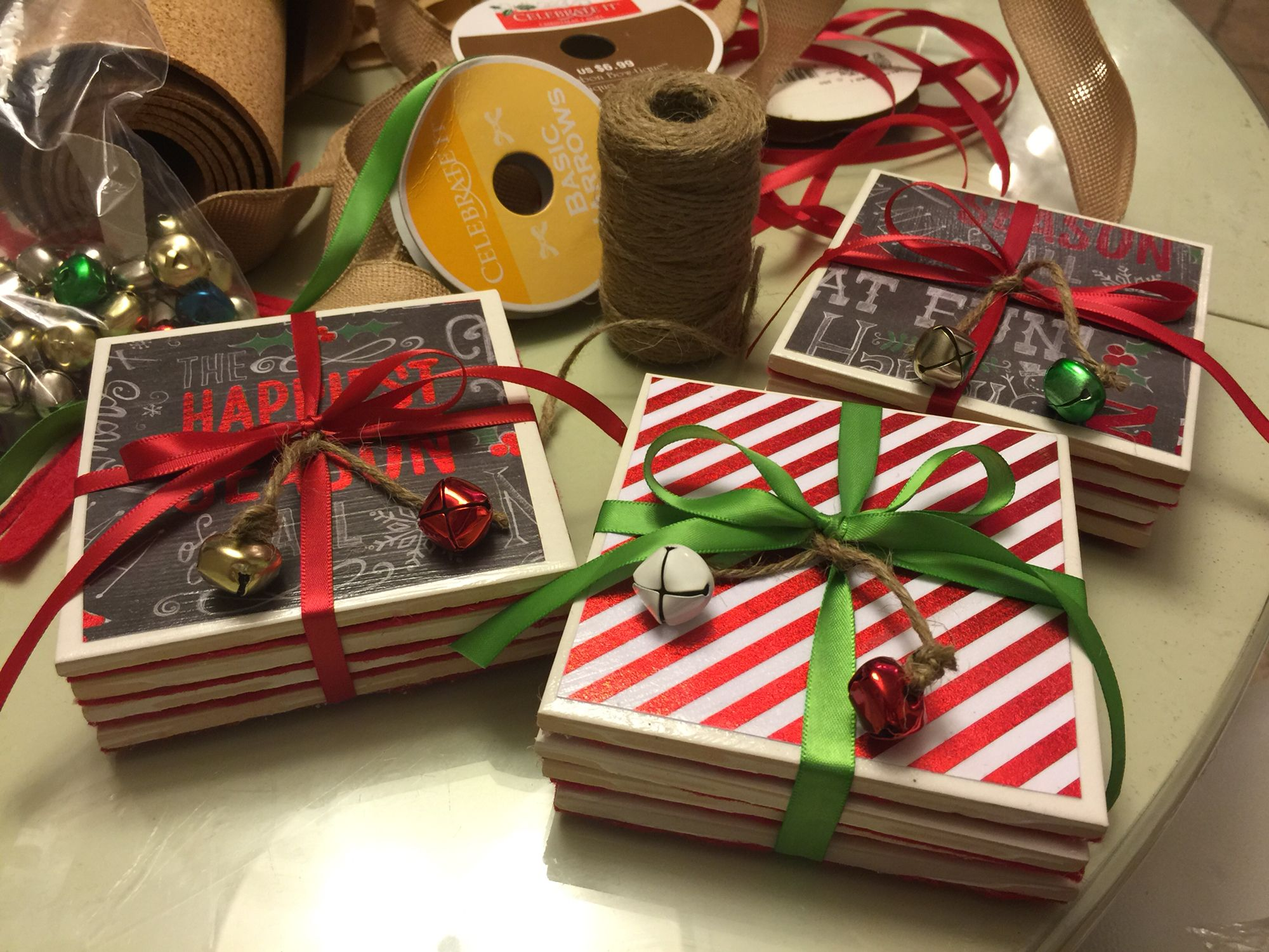 DIY Coasters! Christmas or any occasion gift/ Home Depot