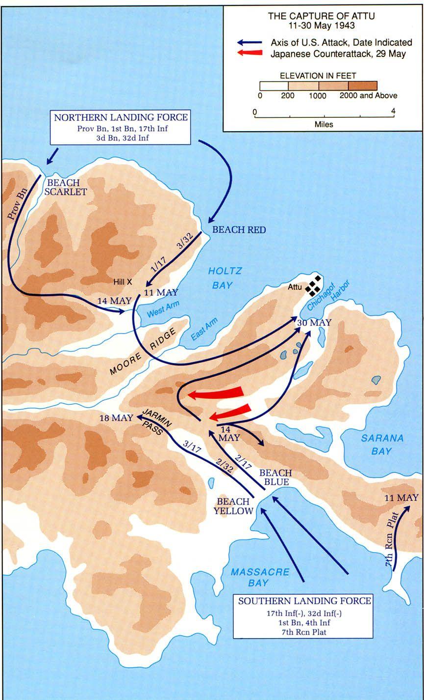 map of the capture of attu in the aleutian islands 1943 [ 865 x 1425 Pixel ]