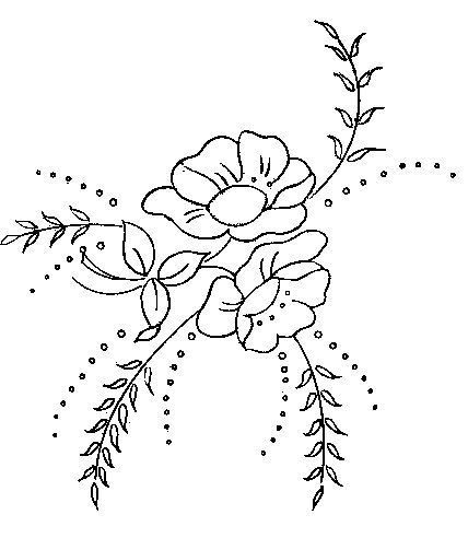 Simple Flower Pattern For Hand Embroidery Or Other Uses Stitches