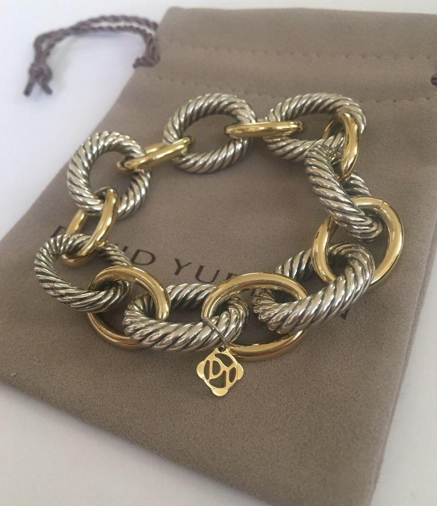 1fb18742d DAVID YURMAN STERLING SILVER & 18k GOLD EXTRA LARGE OVAL LINK BRACELET |  eBay
