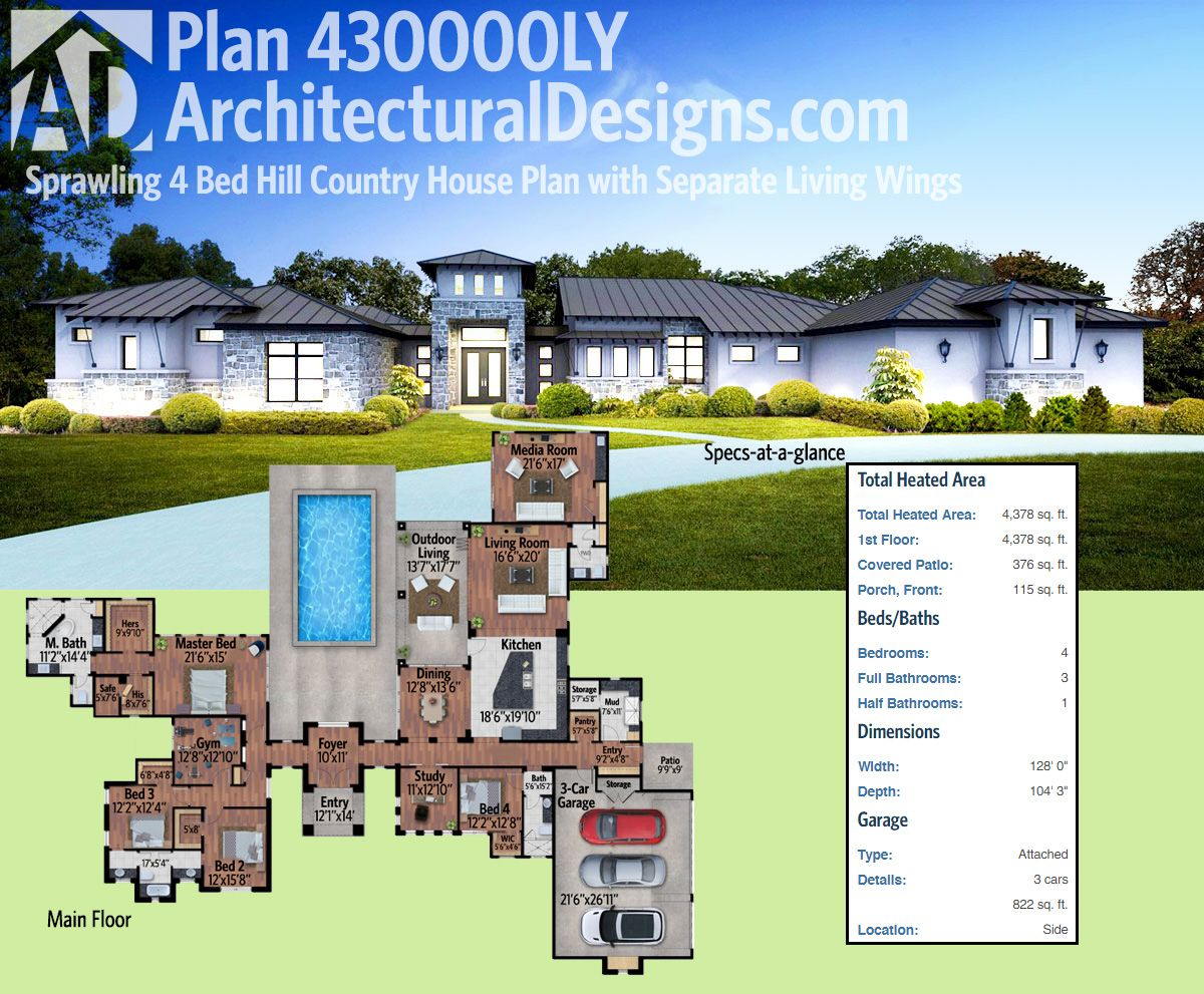 Plan 430000ly: Sprawling 4 Bed Hill Country House Plan With Separate Living  Wings