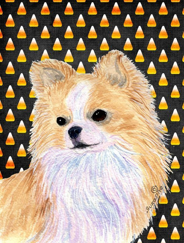 Chihuahua Candy Corn Halloween Portrait Flag Garden Size