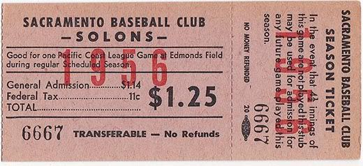 """1956 Season ticket to games for Sacramento Baseball Club """"Solons""""   cost including 11c tax was 1dollar25cents"""