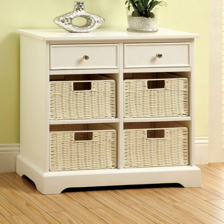 White Stained Wooden Console Table With Two Drawer And Shelf Plus Rattan Storage Basket Extra Wide Also Sofa Tables Baskets