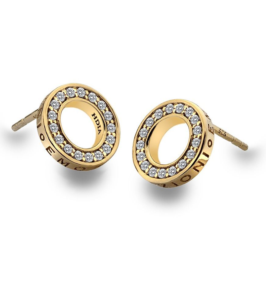 Emozioni Saturno Yellow Gold Plated Silver Earrings 7qO5rXf