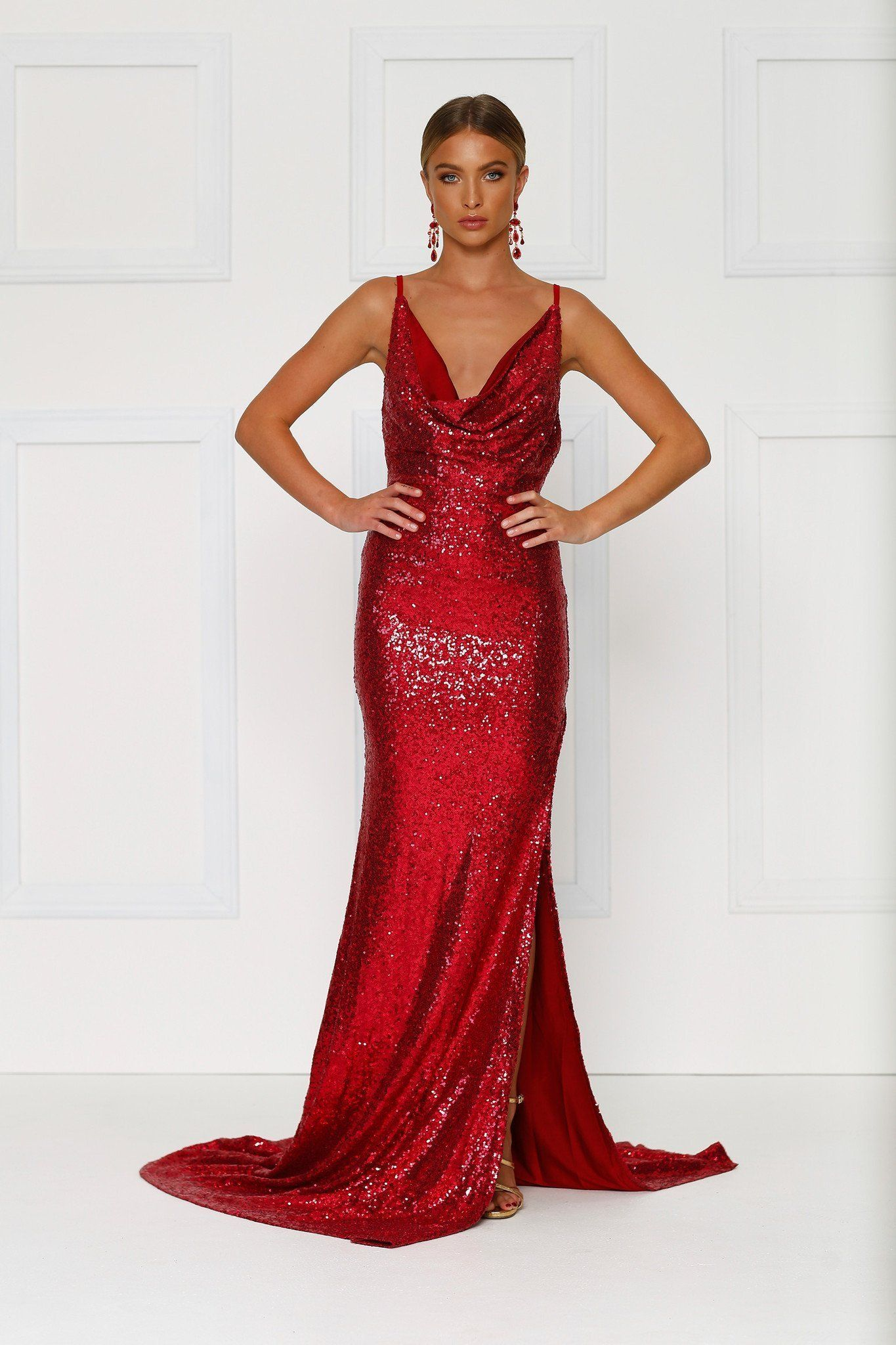 Andriana wine red sequin gown simple gowns gowns