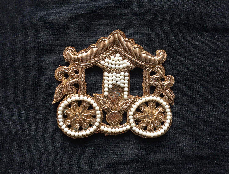 Royal Carriage Indian Zari Applique, Handmade Embroidery Golden ...