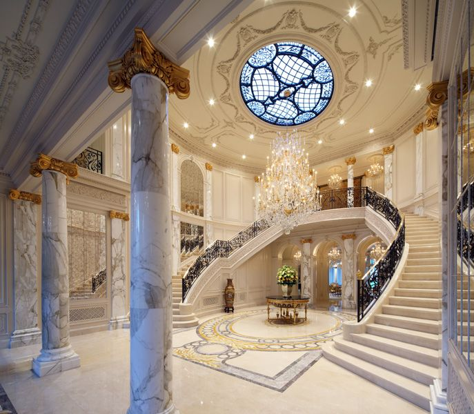 Double Staircase Foyer: Foyer, Beaux Arts Mansion In Beverly Hills #methodcandles