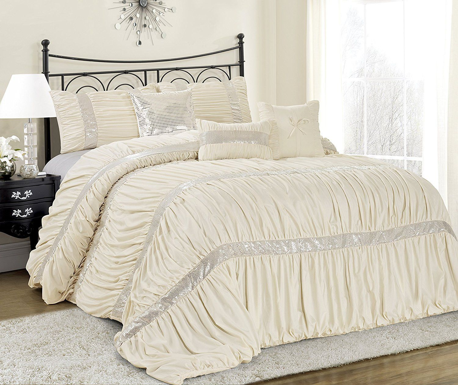 Ciara Sequin Ruched Ivory 7PC Comforter Bed Set (With