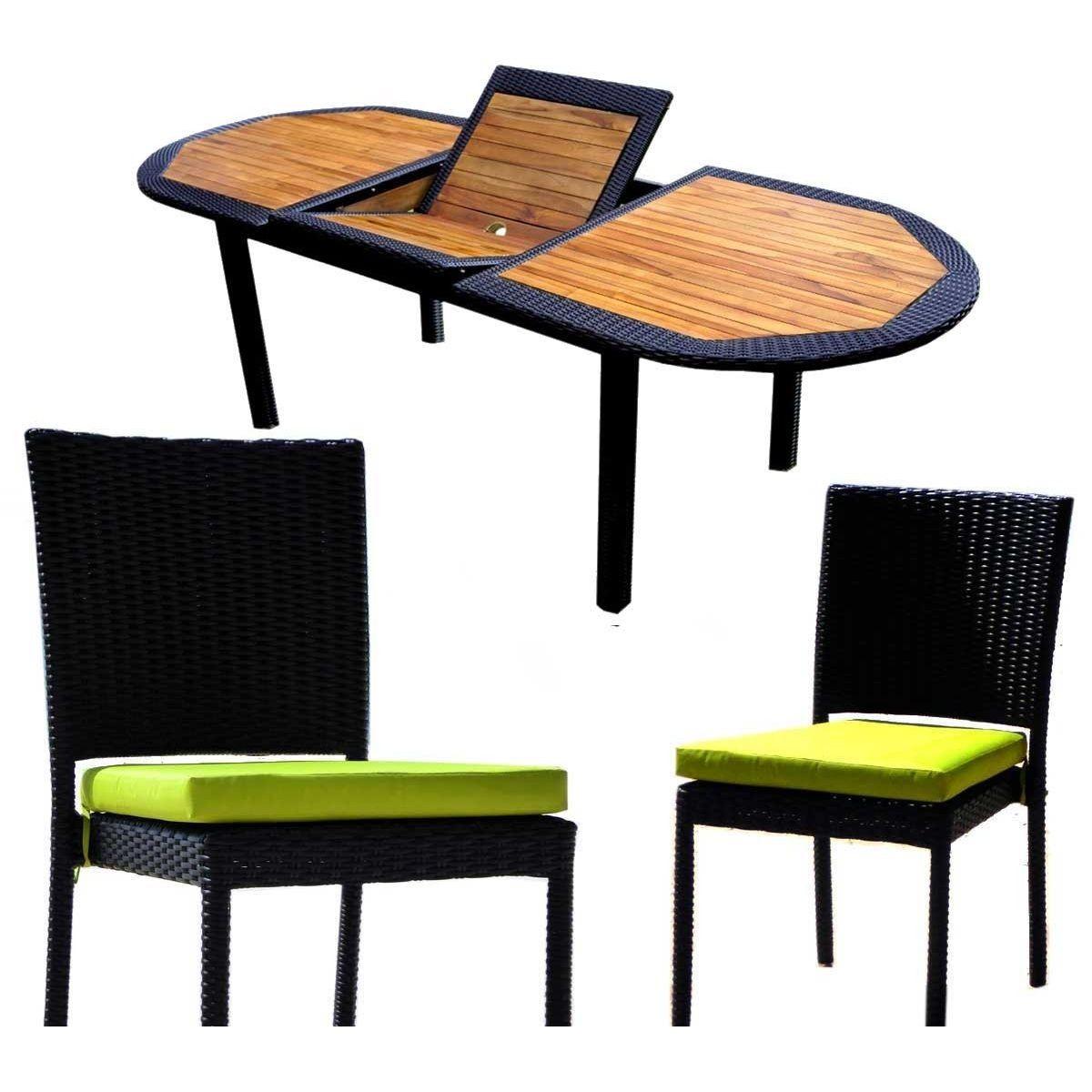 Salon De Jardin Ensemble Table Teck Et Résine Tressée Et 8 ...