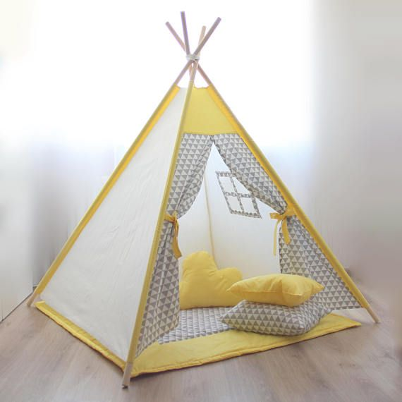 Kids teepee yellow gray Play tent gray triangles Babyshower Playhouse Kids gift Baby gift Childrens gift Boys play tent Nursery decor Tipi & Kids teepee yellow gray Play tent gray triangles Babyshower ...