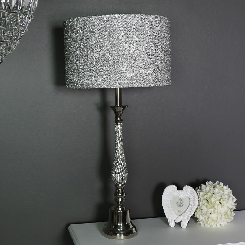 Large Silver Diamante Table Lamp With Glitter Shade Gold Luxe Luxury Classy Interiors Interiordesign French Style Furniture Table Top Lamps Table Lamp