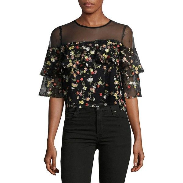 e86e38c2 Lucy Paris Women's Floral Mesh Ruffled Blouse ($47) ❤ liked on Polyvore  featuring tops, blouses, black floral, embroidered mesh top, embroidery  blouses, ...