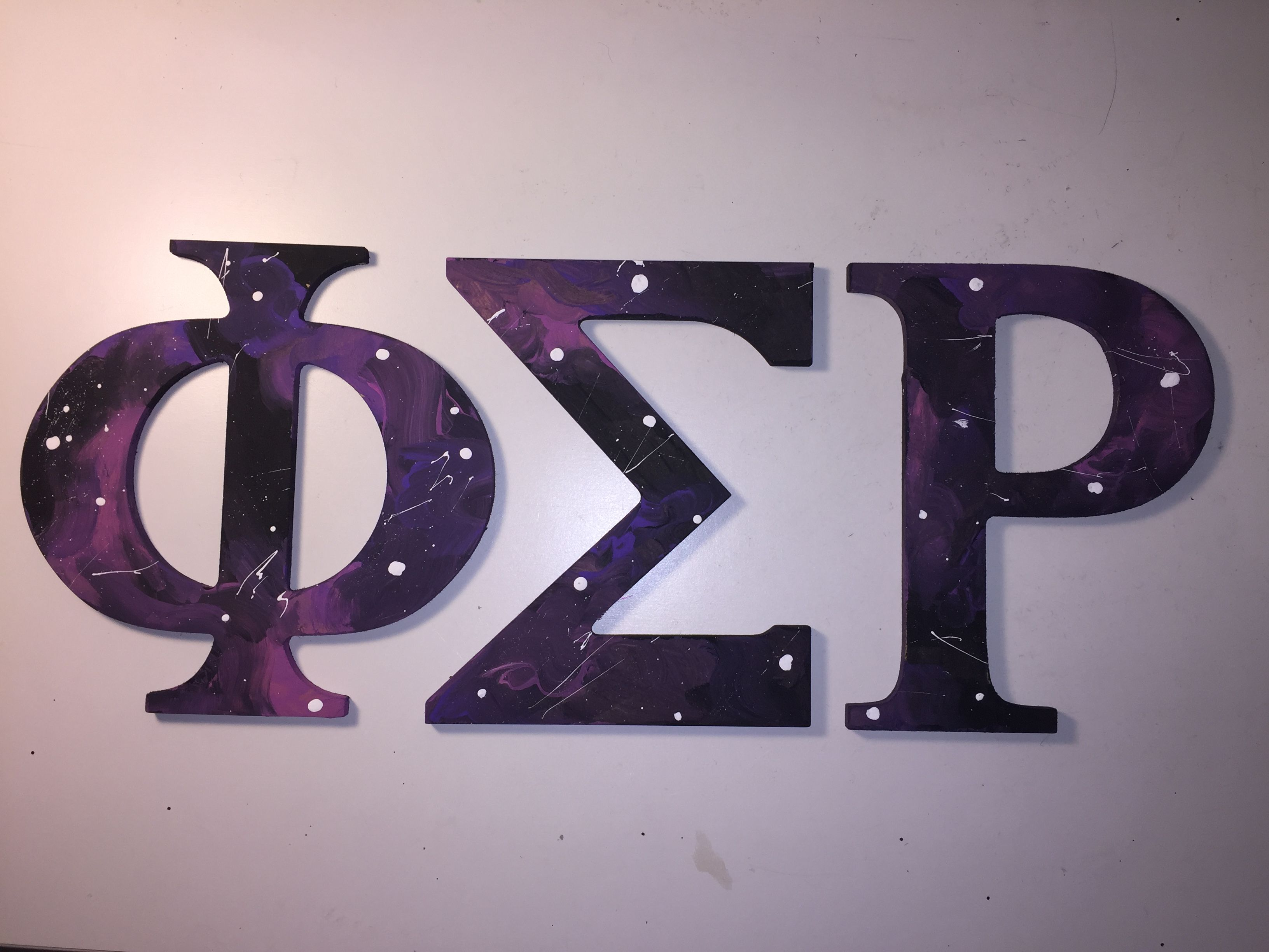 Phi Sigma Rho galaxy star painted letters