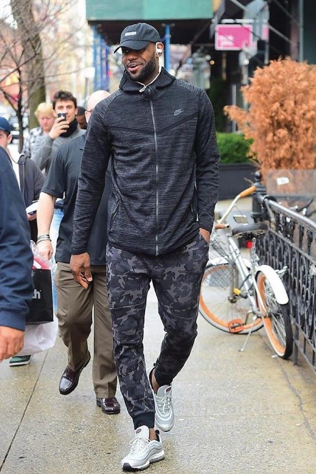 more photos f29aa 343bd LeBron James wearing Nike Tech Knit Windrunner Jacket, Nike Tech Fleece  Camo Pant, Nike Air Max 97 OG, Beats by Dre Powerbeats2, UNKNWN Script Hat